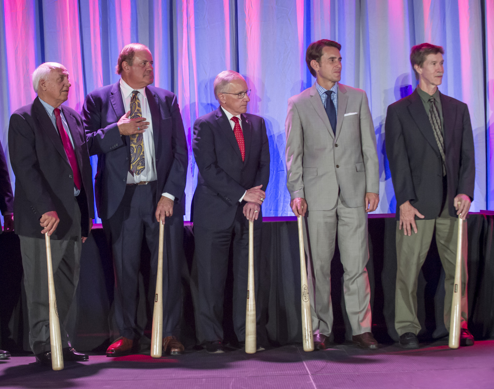From left, 2016 Hall of Fame inductees Bill Packer and Chris Berman, with 3-time National Sportscaster of the Year Mike Emrick, 2-time National Sportswriter of the Year Tom Verducci, and 2016 Hall of fame inductee Gary Smith