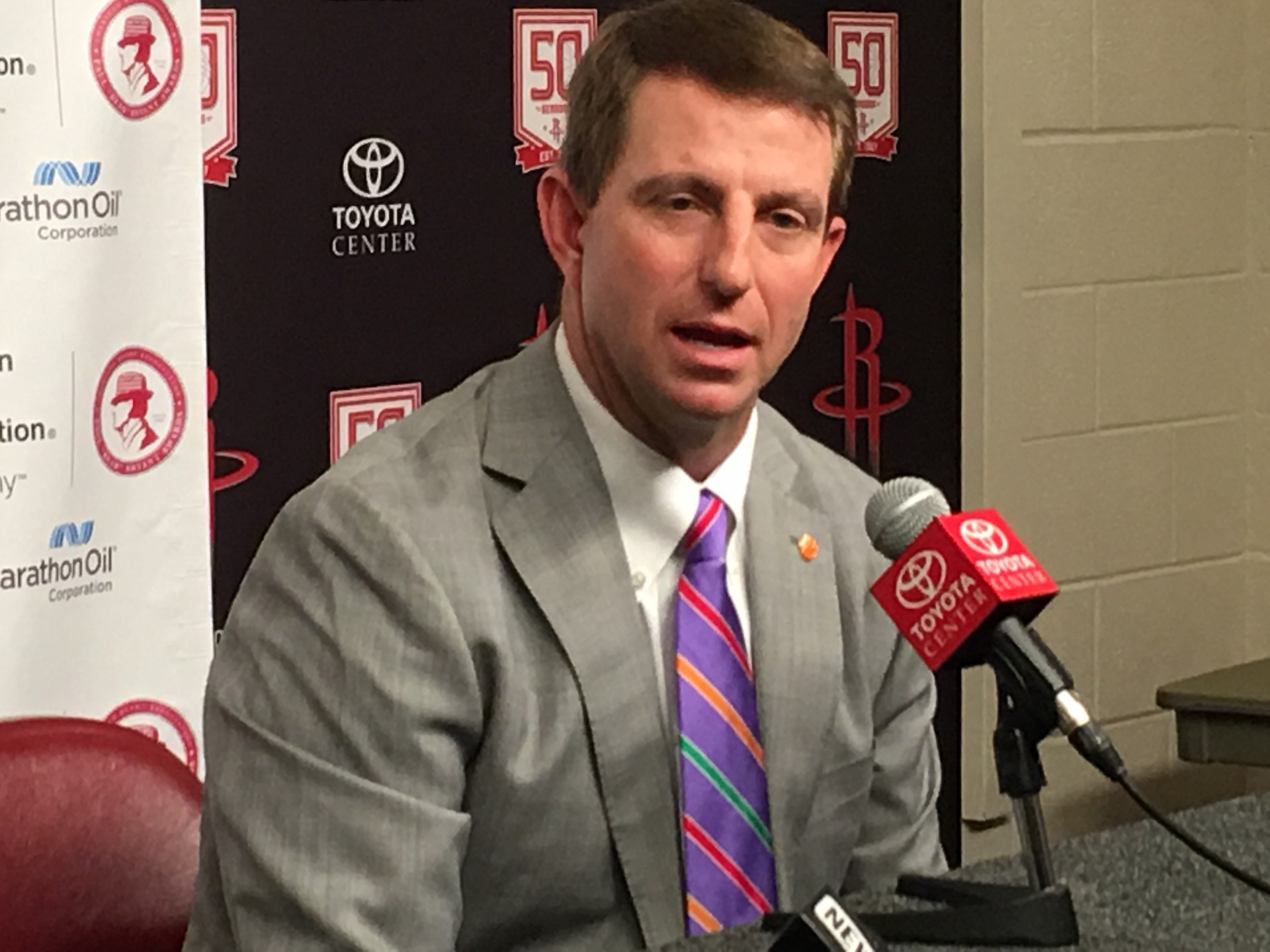 Dabo Swinney Talks to Media After Winning Second Straight Bryant Award (Dave Goren Photo)