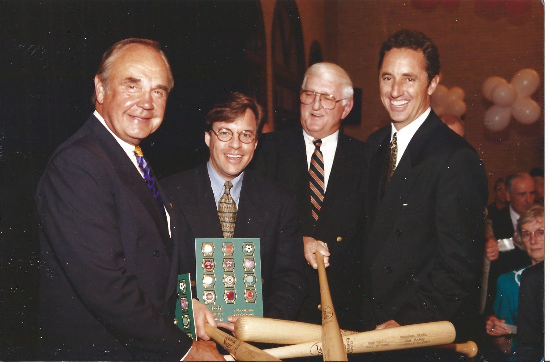 From left:  Dick Enberg, Bob Costas, Dan Jenkins, Rick Reilly at the 1996 NSMA Awards banquet, Salisbury, NC.