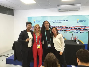 Me with football legends, Karina Leblanc, Aline Pellegrino and Veronica Buqete.