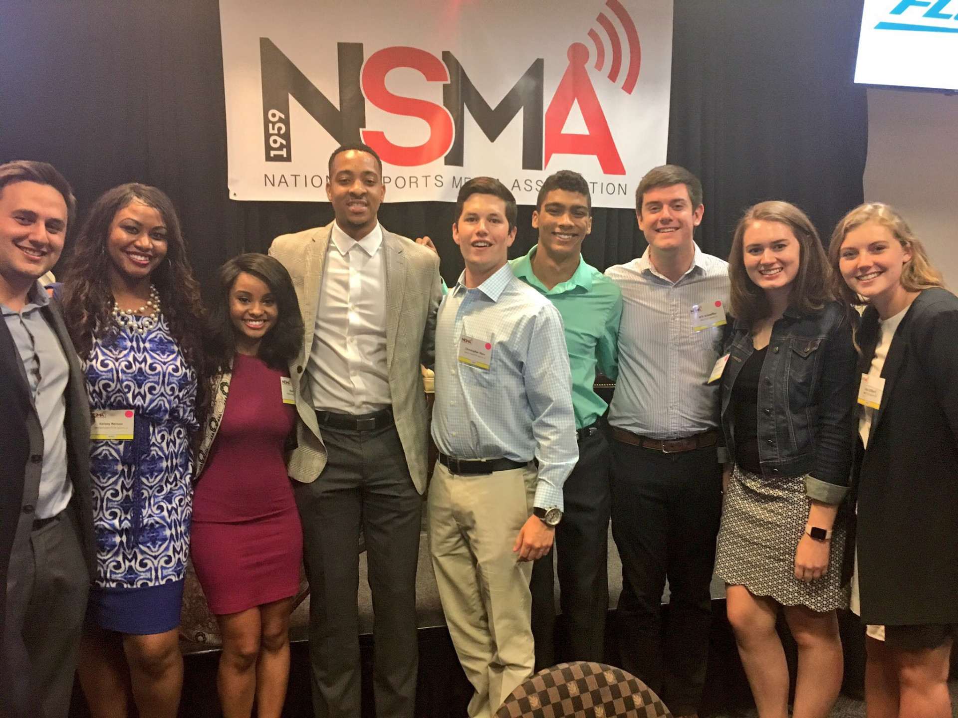 Members of FOX Sports University attended the 58th NSMA Awards Weekend, pictured here with Portland Trail Blazers' guard C.J. McCollum, who attended in his role as contributing editor to The Players' Tribune (Daniel Coston Photo)