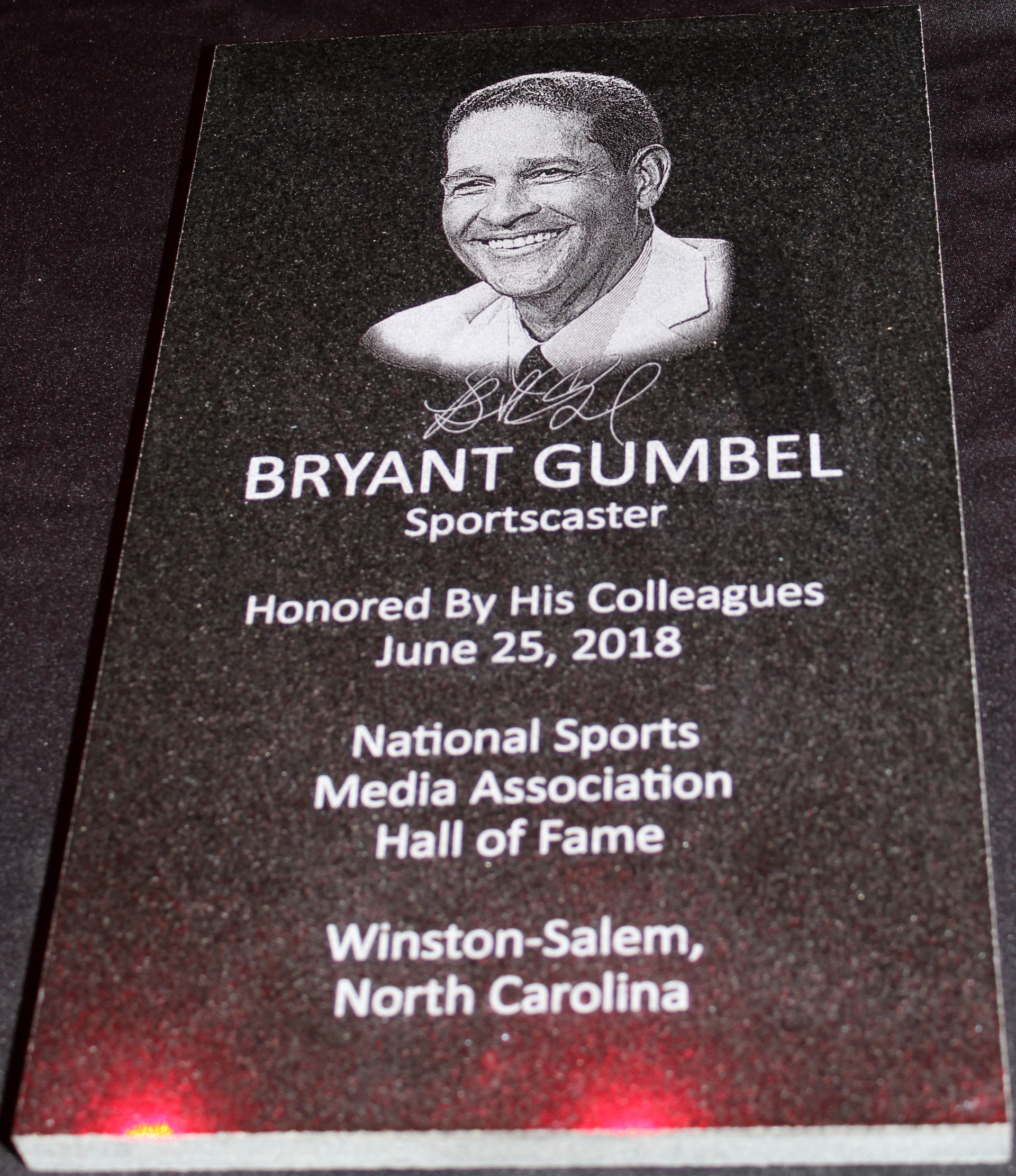 Bryant Gumbel's NSMA Hall of Fame plaque (Daniel Coston photo)