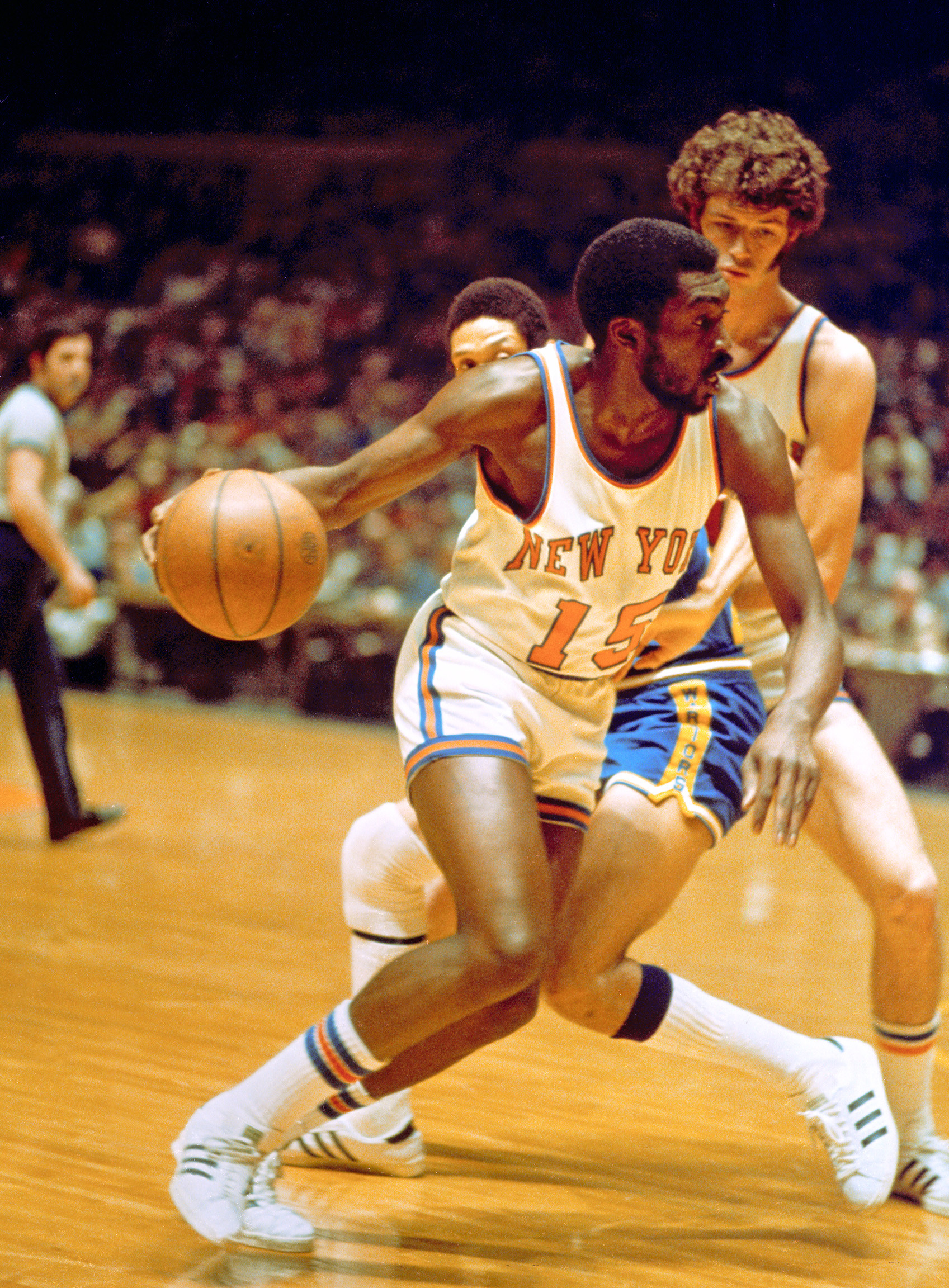 Earl Monroe, #15 in white (From the lens of George Kalinsky)